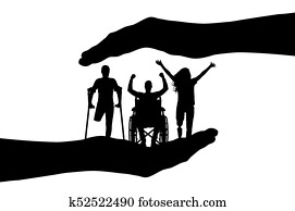 Vector silhouette happy people with disabilities in the hands
