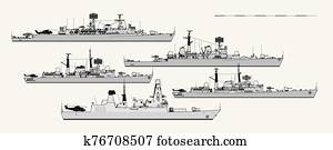 Royal Navy. Postwar British destroyers. Side view. Vector template for illustration.