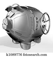 Steel piggy bank
