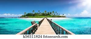 Tropical Destination - Maldives - Pier For Paradise Island
