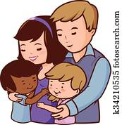 Happy family. Mother, father and children. Vector illustration