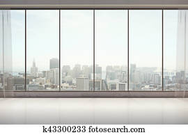 Unfurnished interior with city view