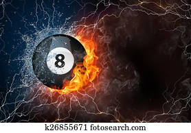 Billiard ball in fire and water