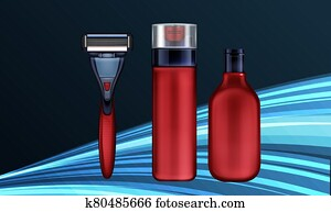 mock up illustration male grooming kit on abstract background