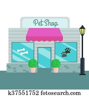 Pet Shops and stores front flat style. Vector illustration
