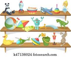 abbildung, von, childrens, kaufmannsladen, mit, lustig, karikatur, spielzeuge, auf, shelves., vektor, satz