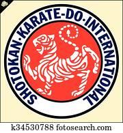 Karate shotokan tiger. Reb emblem Budo, Japan