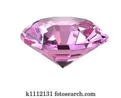 Pink diamond on white background