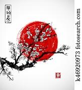 sakura, blüte, und, rote sonne, symbol, von, japan, wei?, hintergrund., enth?lt, hieroglyphen, -, zen, freiheit, natur, happiness., traditionelle, japanische, tinte anstreichen, sumi-e.