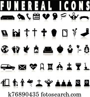 Simple death and funeral icons set