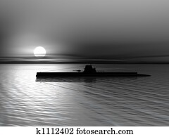 Submarine on a background of a sunset on the sea