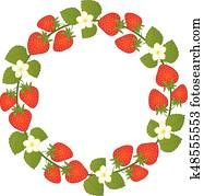 Vector Wreath with Strawberries and Flowers. Vector Strawberry.