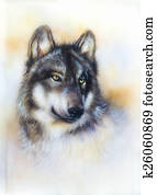 Wolf painting on canvas , color background on paper , multicolo