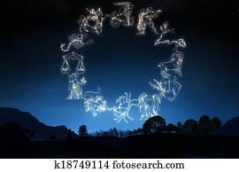 Zodiac Sign's on a sky background.