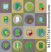 court playground stadium and field for sports games flat icons illustration