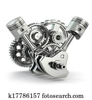 Engine concept. Gears and pistons.