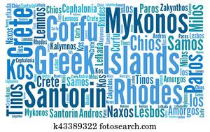 Greek islands word cloud