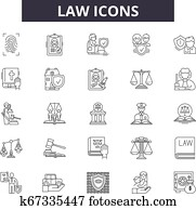Law icon line icons for web and mobile design. Editable stroke signs. Law icon outline concept illustrations