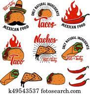 Mexican food. Nachos, burrito, taco illustrations. Design elemen