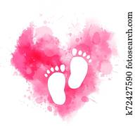 Pink watercolor heart with baby footprints