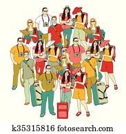 tourismus, reisegruppen, leute verf?rben, isolieren, white.