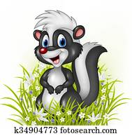 Cartoon skunk on grass background
