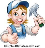 Cartoon Woman Carpenter Holding Hammer
