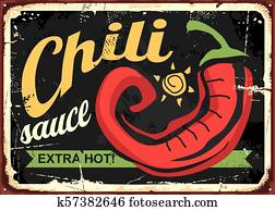 Chili sauce retro tin sign template