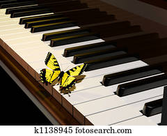 Piano and butterfly