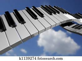 Piano key on sky