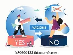 Vaccination debate, vector flat style design illustration