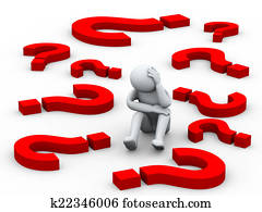 3d confused person between question mark symbols