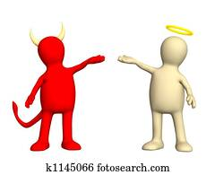 Angel and devil - kindness and evil