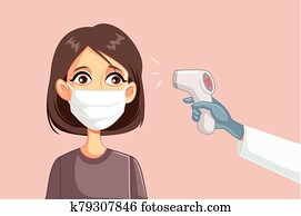 Doctor Measuring Temperature of Female Patient Wearing Surgical Mask