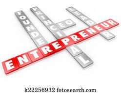 Entrepreneur Word Letter Tiles Founder CEO Business Leader