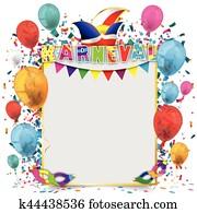 Golden Paper Frame Balloons Karneval
