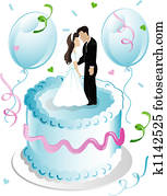 Weddng cake and balloons