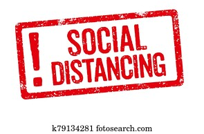 A red stamp on a white background - Social Distancing