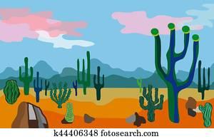 wüste, landschaft., vektor, illustration.
