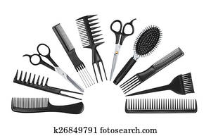 collection of professional tools hairdresser isolated on white b