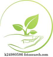 hand holding, plant,, logo, begriff