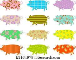 patterned pigs