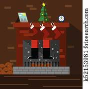 Santa Climbing Through Chimney and Fireplace