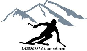 skier, silhouette, bergwelt
