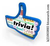 Thumbs Up Trivia Game Winner Feedback Share Social Network