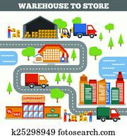 Warehouse To Store Concept