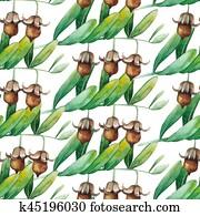 Watercolor jojoba pattern