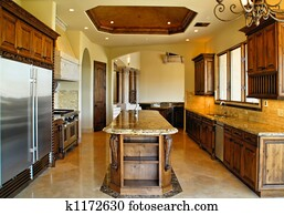 Stock Photo Of Kitchen With Granite Island K7098723