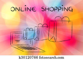 Online Shopping (illustration of bags coming out of a laptop)