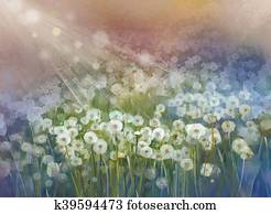Vintage oil painting flowers plant. Wild flower field at sunrise